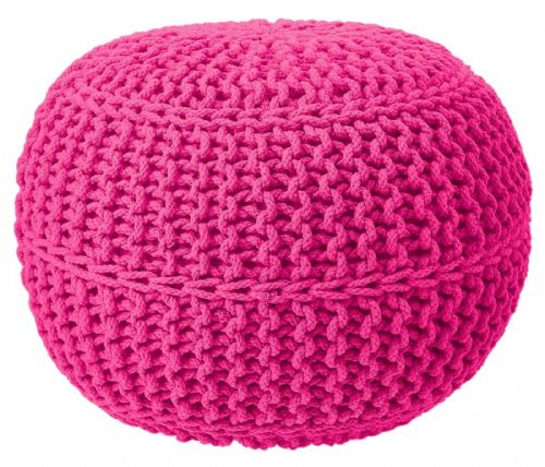 100% Cotton Round Foot Stool Braided Handmade Moroccan Cushion Double Knitted Pouffe Fuchsia Colour